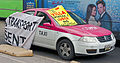 Anti-Uber slogans on taxicab at Mexico City protest.jpg