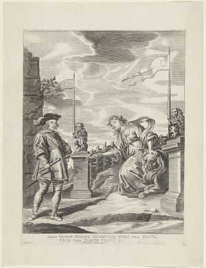 Joyous Entry - Ferdinand Receives the Keys of the City from the Virgin of Ghent, print after a painting made by Antoon van den Heuvel for the Joyous Entry by the Cardinal-Infante Ferdinand into Ghent in 1635