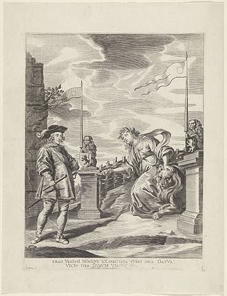 "Freedom of the City - ""Ferdinand Receives the Keys of the City from the Virgin of Ghent"", print after a painting made by Antoon van den Heuvel for the Joyous Entry by the Cardinal-Infante Ferdinand into Ghent in 1635"