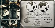 "The historical plaque on the ladder of Apollo 11's lunar module ""Eagle"", still remaining on the Moon."