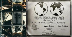 """The historical plaque on the ladder of Apollo 11's lunar module """"Eagle"""", still remaining on the Moon."""