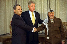 Palestinian Authority chairman Yasser Arafat, U.S. President Bill Clinton and Israeli Prime Minister Ehud Barak came together for peace negotiations in 2000. Photograph by Sharon Farmer