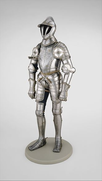 Archduchy of Austria - Armor of Ferdinand I, Holy Roman Emperor, created for then-Archduke Ferdinand in 1549, with Reichsadler on the boots signifying his title King of the Romans. The parade armour was crafted by the eminent master plate armourer Kunz Lochner from Nuremberg.