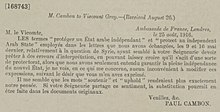 Asia Minor Agreements - Paul Cambon, Ambassade de France, Londres to Sir Edward Grey, 25 August 1916.jpg