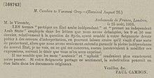 Acuerdos de Asia Menor - Paul Cambon, Ambassade de France, Londres a Sir Edward Gray, 25 de agosto de 1916.jpg