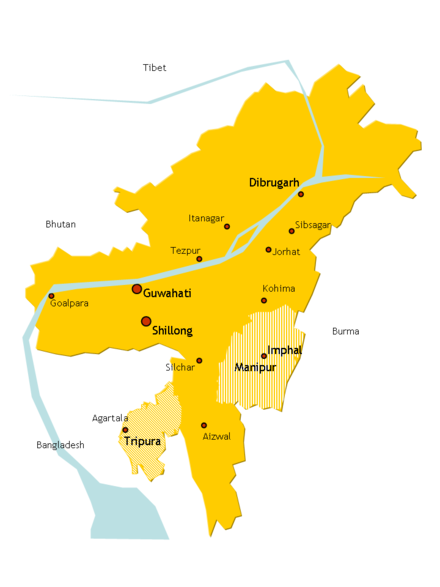 Assam till the 1950s; The new states of Nagaland, Meghalaya and Mizoram formed in the 1960-70s. From Shillong, the capital of Assam was shifted to Dispur, now a part of Guwahati. After the Indo-China war in 1962, Arunachal Pradesh was also separated out. Assam in 1950s.png