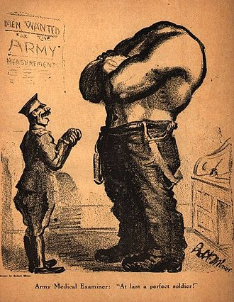 "Robert Minor - A controversial Minor cartoon from the July 1916 issue of The Masses. The caption reads: ""Army Medical Examiner: 'At last — a perfect soldier!'"""