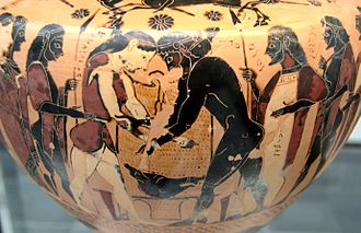 Chalkidian pottery - Peleus and Atalante wrestling at the funeral games of king Pelias; hydria by the Inscription Painter, circa 550 BC. Munich: Staatliche Antikensammlungen.