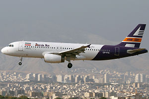 Atrak Air - An Atrak Airlines Airbus A320 landing at Mehrabad International Airport
