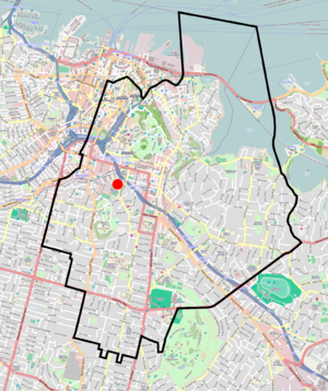Auckland Grammar School - Auckland Grammar's enrolment home zone covers the eastern Auckland CBD and inner suburbs south-east of the CBD. The school is marked by the red circle.