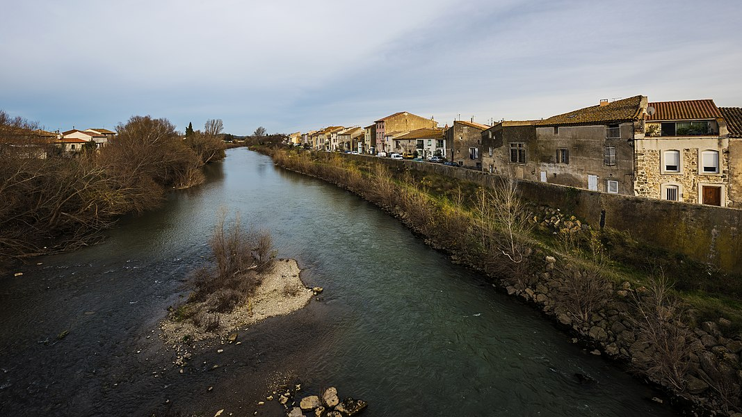 Revolution Embankment and the Aude River. Coursan, Aude, France.