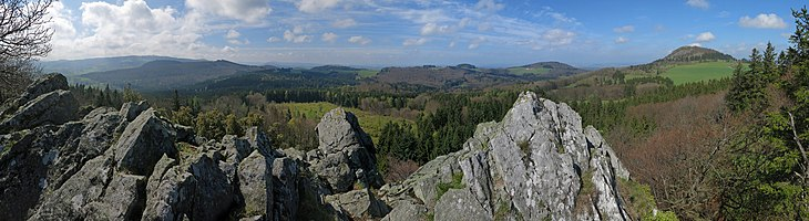 View from the rocks of the Bubenbader Stein over the Rhön Mountains