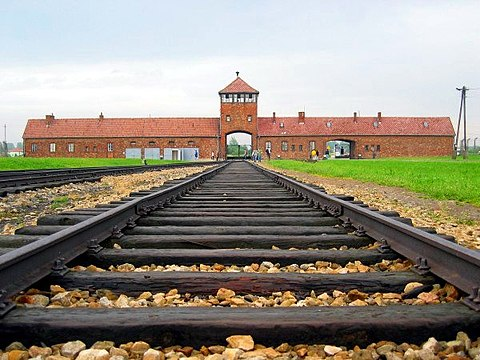 Entrance to Auschwitz II-Birkenau, an extermination camp Auschwitz-birkenau-main track.jpg