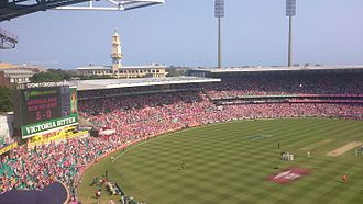 Celebrations at the SCG after Australia won the Ashes 5-0 in 2014 Australia won the Ashes 5-0.jpg