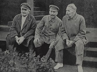 Maxim Gorky - Avel Enukidze, Joseph Stalin and Maxim Gorky celebrate 10th anniversary of Sportintern. Red Square, Moscow USSR. Aug 1931