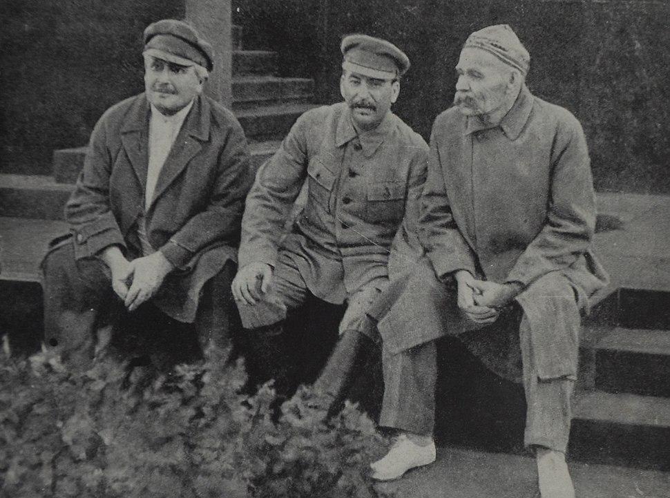 Avel Enukidze Joseph Stalin and Maxim Gorky Red Square 1931