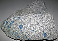 "Azurite orbs in granite (""K2 Stone"") (Himalayan Mountains of Pakistan) 1 (29495835573).jpg"