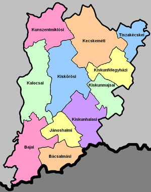 Districts of Hungary - A map of the districts in Bács-Kiskun County