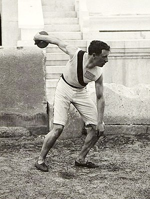 Discus throw at the Olympics - Image: BASA 3K 7 422 22 Robert Garrett throwing the discus at 1896 Summer Olympics