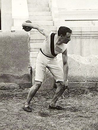 Athletics at the 1896 Summer Olympics – Men's discus throw - Robert Garrett throwing the discus