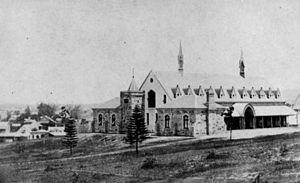 Brisbane Grammar School - The original Brisbane Grammar School, in Roma, Street, ca.1875