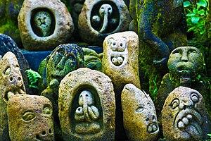 Balinese art - Balinese stone carvings, Ubud.