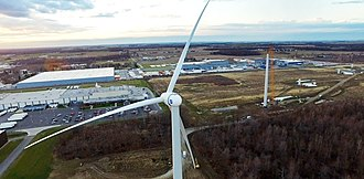 Wind power in Ohio - Wind for Industry turbine built for Ball Corporation's metal division in Findlay, Ohio