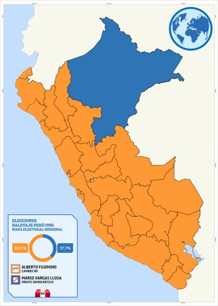 Segunda vuelta de las elecciones generales de Perú de 1990. El fujimorismo arrasó en casi todos los departamentos.