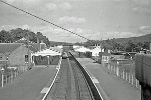 Beeching cuts - Banchory railway station on the Deeside Railway, Scotland, in 1961. The station closed in 1966.
