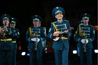 Military tattoo - The Band of the Kazakh Republican Guard at the Spasskaya Tower Military Music Festival and Tattoo in 2014.