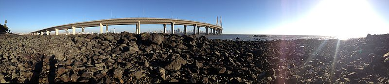 Panorama Shot of the Bandra Worli Sea Link (Mumbai)