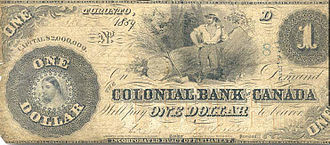 Banknotes of the Canadian dollar - $1 Banknote of the Colonial Bank of Canada issued in 1859.