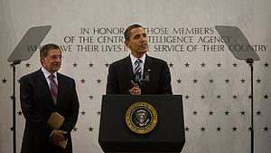 Leon Panetta - President Barack Obama speaks to CIA employees at CIA Headquarters in Langley, April 20, 2009