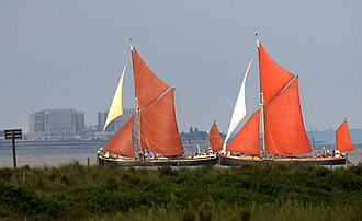 Thames sailing barge - Pudge leading Repertor in a sailing match on the River Colne