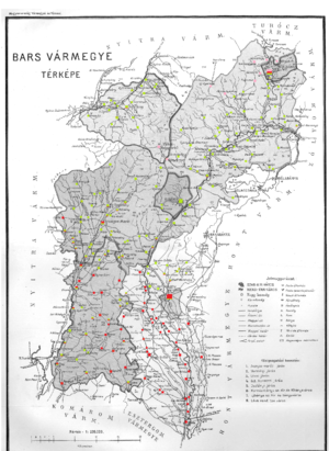 Bars County - Ethnic map of the county with data of the 1910 census (see the key in the description).