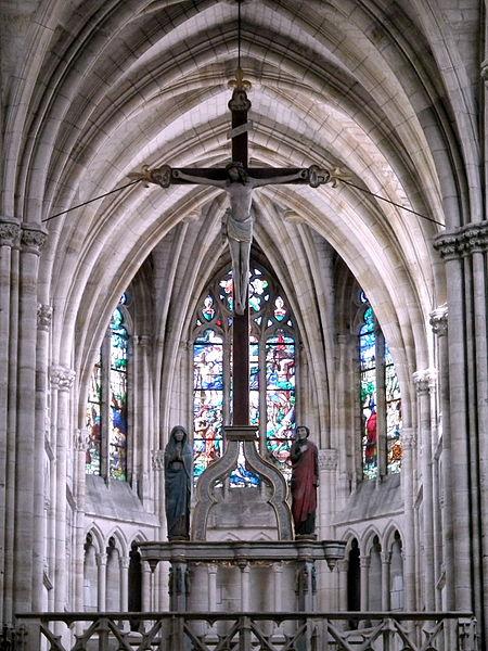 Crucifixion above the rood screen      Basilica of Notre-Dame       Native name Basilique Notre-Dame   Location L'Épine, France   Coordinates 48°58′37″N, 4°28′13″E      Authority control   : Q2886966