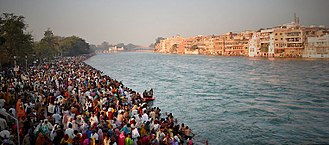 Pilgrimage - Bathing ghat on the Ganges during Kumbh Mela, Haridwar