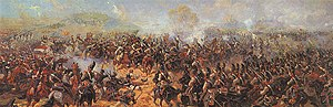 Panoramic painting - Raevsky Battery at Borodino, a fragment of Roubaud's panoramic painting