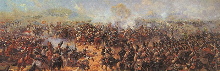 French and Russian cavalry clash behind the Raevsky redoubt. Details from Roubaud's panoramic painting. Battery of Raevsky.jpg
