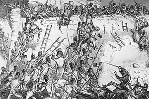 Siege of Badajoz (1812) - British infantry attempt to scale the walls of Badajoz, the site of one of several horrific sieges conducted during the Peninsular War