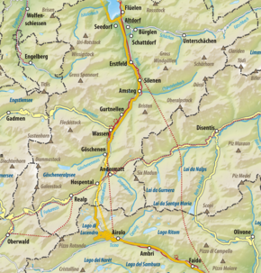 Map shows the area where the Battle of Gotthard Pass was fought.