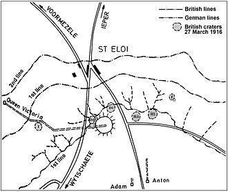 Sint-Elooi - Image: Battle of Messines 1917 mine plan St Eloi