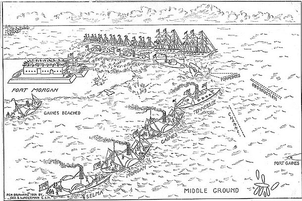 Sketch of the battle, August 5, 1864. Battle of Mobile Bay.jpg