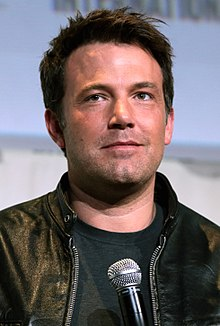 Photograph of Ben Affleck wearing a leather jacket