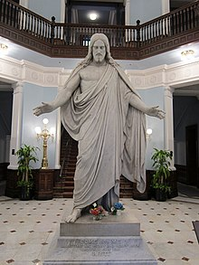 "10-foot high statue of ""Christ, the Divine Healer"" at the hospital's administration building"
