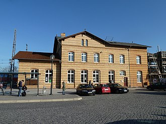 Ludwigsfelde station - Entrance building in 2012, to the right an exhibition building is under construction