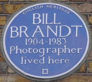 Bill Brandt - Blue plaque, 4 Airlie Gardens
