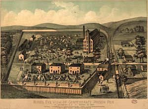 Prisoner-of-war camp - Bird's Eye View of the Confederate Prison Pen, Salisbury, North Carolina, 1861, lithograph