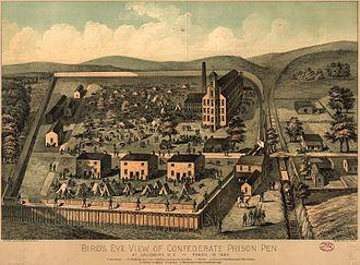 Prisoner-of-war camp - Bird's Eye View of the Confederate Prison Pen, Salisbury, North Carolina, 1861, lithograph