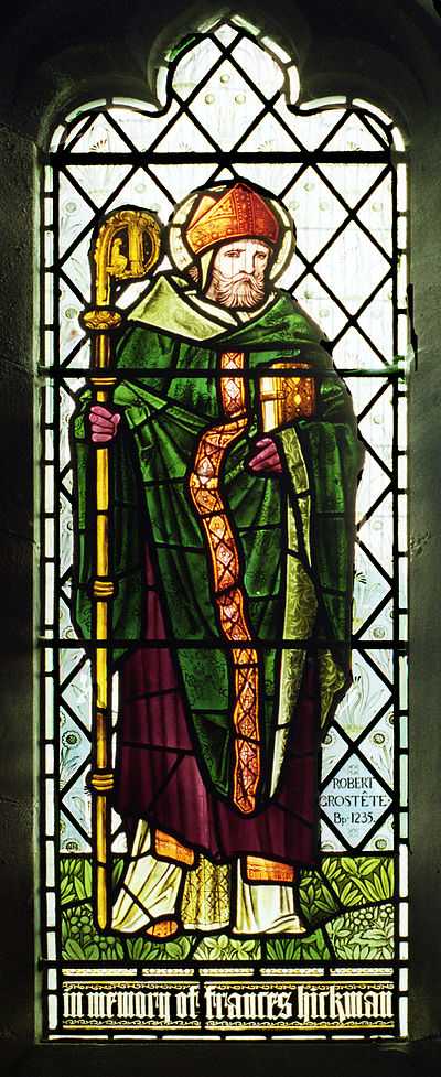 A 19th-century portrait of Robert Grosseteste in stained glass Bishop Robert Grosseteste, 1896.jpg